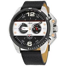 DIESEL Ironside Chronograph Black Leather Men's Watch DZ4361 - 2 Years Warranty