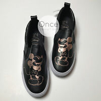 Primark Ladies Disney Mickey Mouse Gold & Black Slip On Sneakers Trainers Shoes