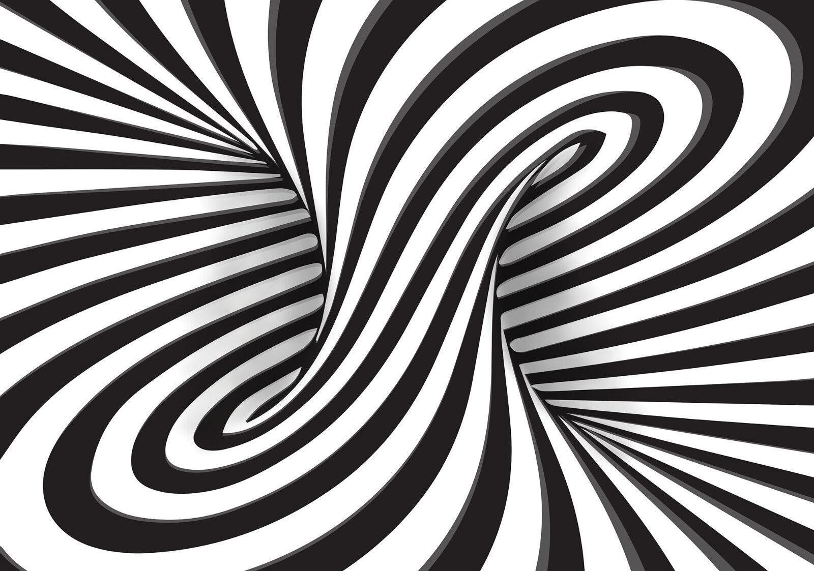 VLIES Fototapete-3D DESIGN-(10204)-Abstrakt Spirale Fantasie Deco Schwarz-Weiß