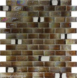 Image Is Loading Sample Brown Iridescent Gl Mosaic Tile Kitchen Backsplash