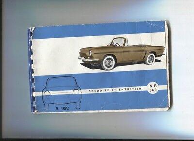 Renault Floride Type R.1092 Notice D'entretien D'époque Juillet 1960