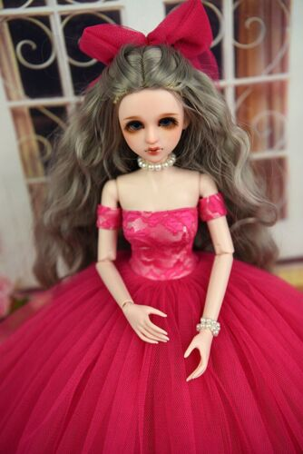 Hot Pink Fashion Dress /& Veil Wedding Dress For 1//4 Doll Clothes Gown Party Toy