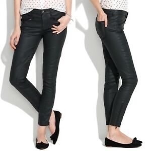 ac4f5f404d85ea Image is loading Madewell-Waxed-Motorcycle-Skinny-Ankle-Jeans-Black-Coated-