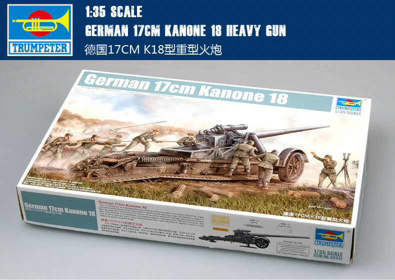 GERMAN 17CM KANONE 18 HEAVY GUN 1 35 GUN Trumpeter model kit 02313