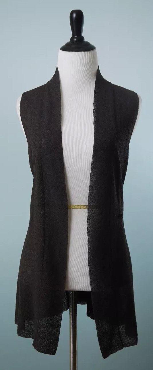 EILEEN FISHER  Dark Brown Sleeveless Open Evening Cardigan Size S