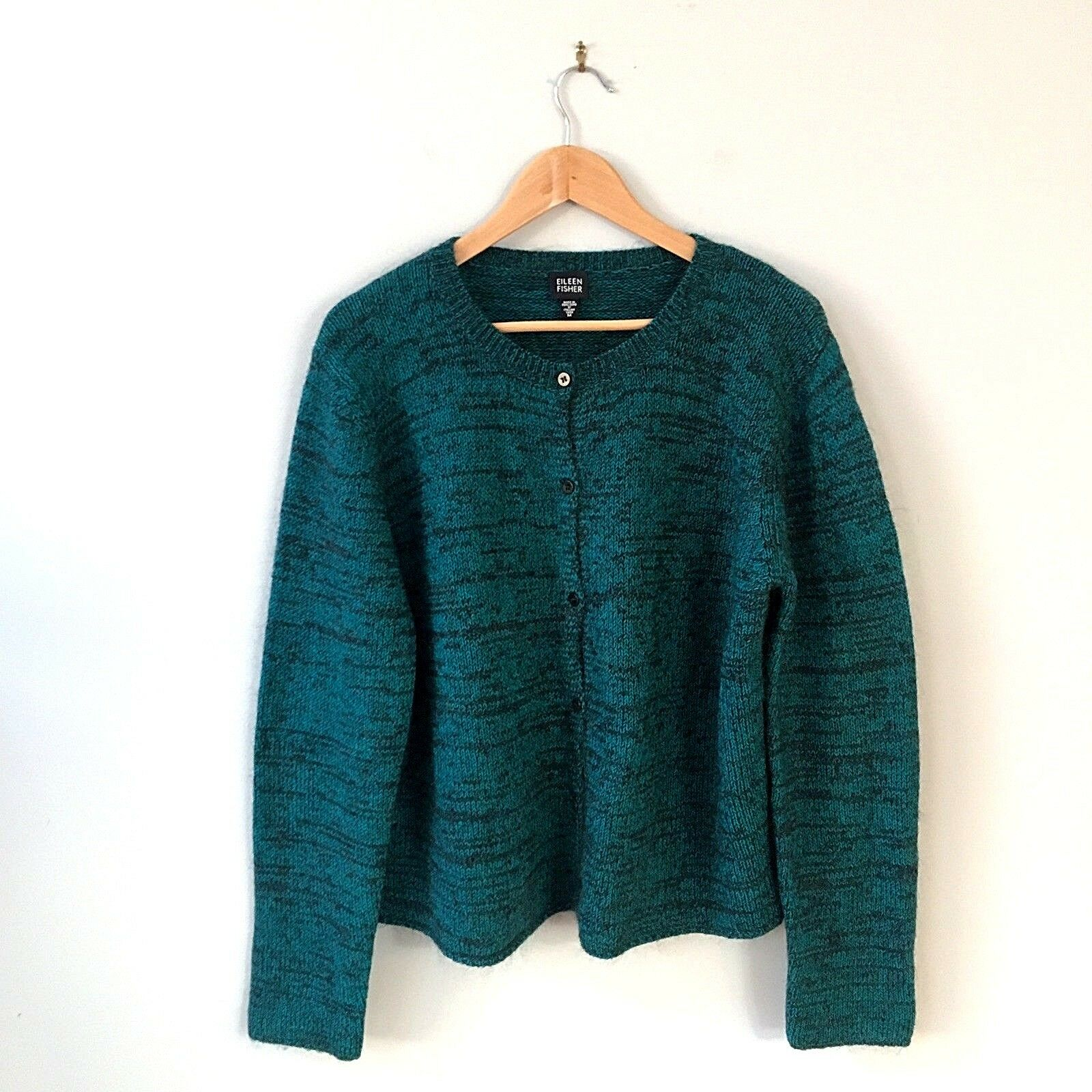 Eileen Fisher Dark Green Green Green Button Down Chunky Cardigan Long Sleeve Size Medium 6f64c1
