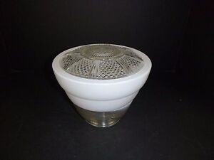 Vtg Mid Century Deco Style Lamp Light Fixture Glass Shade Only Round Clear White