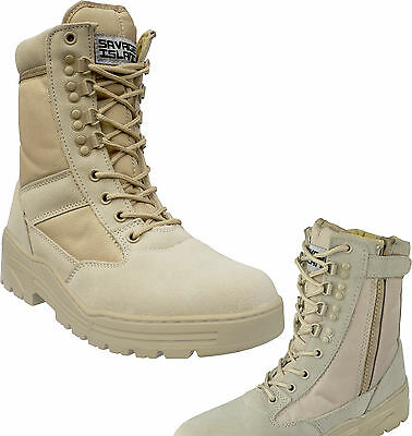 Desert Army Side Zip Combat Patrol Boots Tactical Cadet Military Tan Jungle