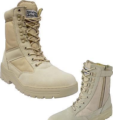 Desert Army Side Zip Combat Patrol Boots Tactical Cadet Military Tan Jungle