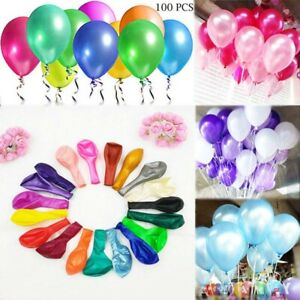 """100PC LATEX BALLOONS 10/"""" PARTY BIRTHDAY WEDDING HELIUM AIR COLOURS DECORATION"""