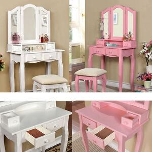 2 PC White Pink Tri-Mirror Double-Decker 4 Drawers Wood ...