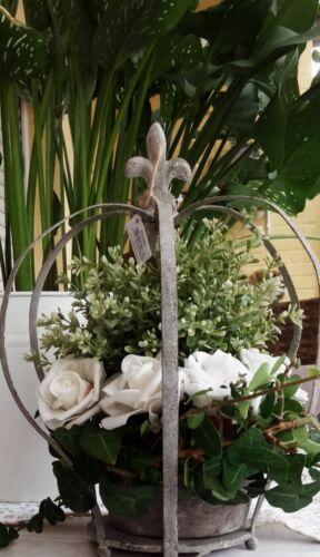 Krone Blumentopf Garten Deko Metall Krone Lilie grau Shabby Vintage Landhaus