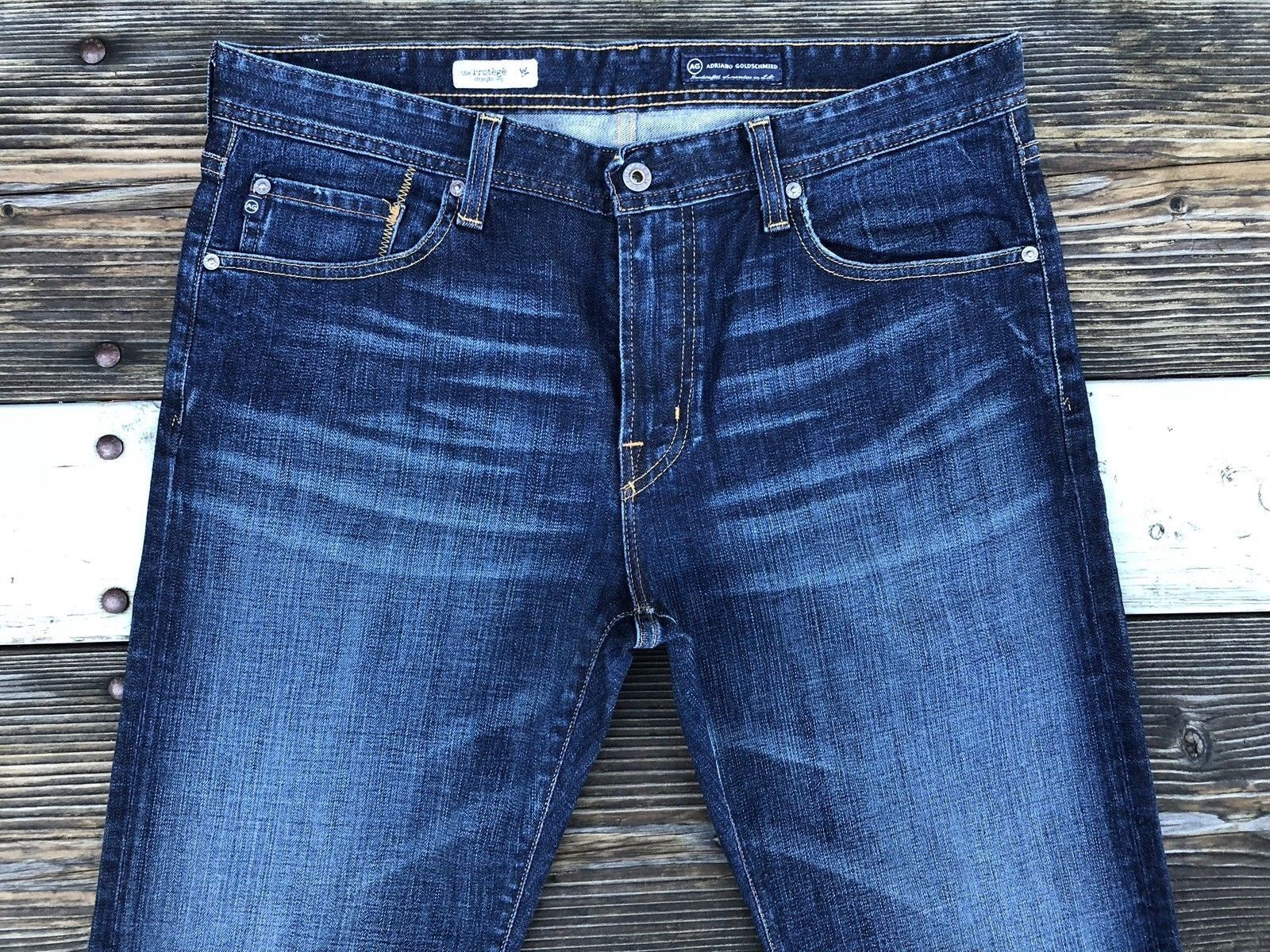 AG The Predege 35x32.5 Straight Stretch Denim Cotton Made in the US Adriano gold