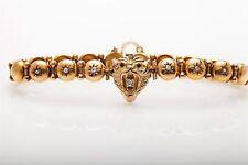 Antique Victorian 1800s .65ct Old Mine Cut Diamond LION 14k Gold Bracelet
