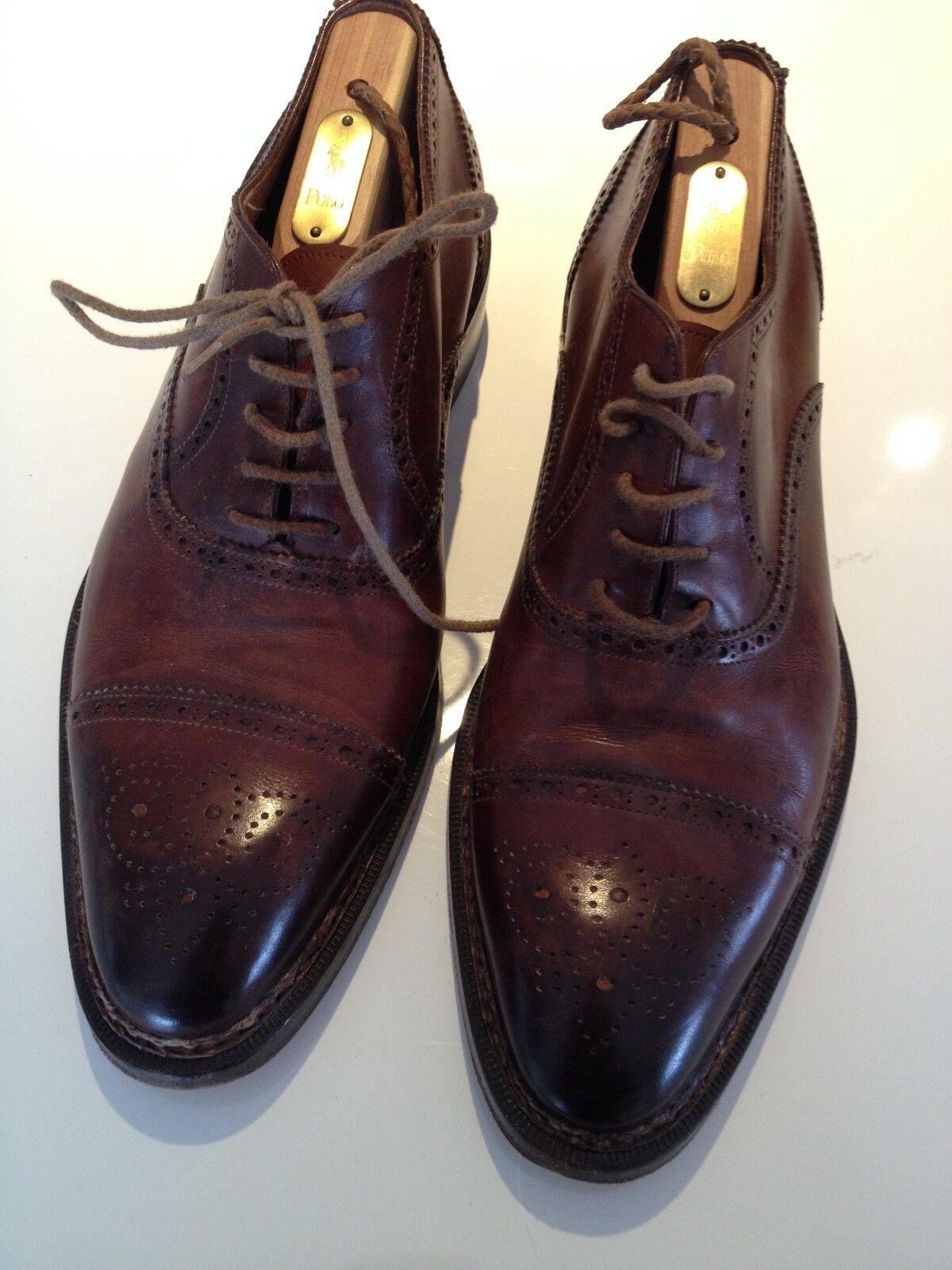 Ralph Lauren Made in  Cuir Marron Cap Toe Chaussures 8