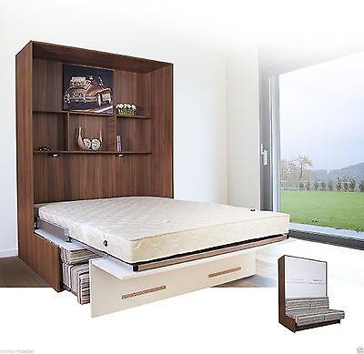 Schrankbett Wandbett Klappbett - SOFA-Classic-160x200 cm In KERNNUSSBAUM-WEISS