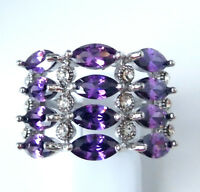 Gorgeous Amethyst/white Topaz Ring Uk Size n Us 7