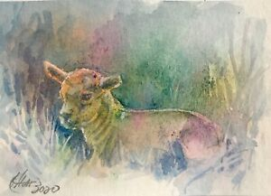 ACEO-painting-Original-Sheep-Lamb-Animals-fine-art-Originals-direct-from-artist