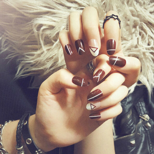 24pcs acrylic wine red fake nail tips french full false nails art fingernail ^X