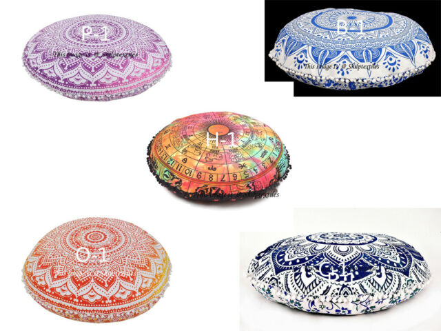 Floor Round Meditation Cushion Cover Indian Cotton Handmade Large Pouf New Gift