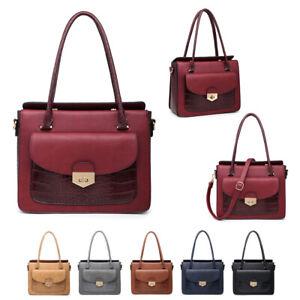 Damen-Multi-Fach-Handtasche-Kroko-Arbeit-Umhaengetasche-Verschluss-Schultertasche
