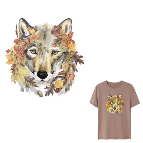 Wolf Irons on Stickers Leaves Patches DIY Washable Heat Transfer Applique Dec HL