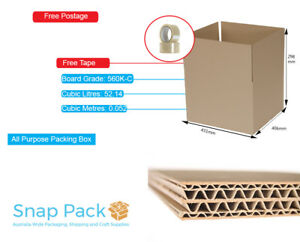 50 x MOVING STORAGE BOXES PACKAGING  CARDBOARD REMOVALIST + BONUS STICKY TAPES