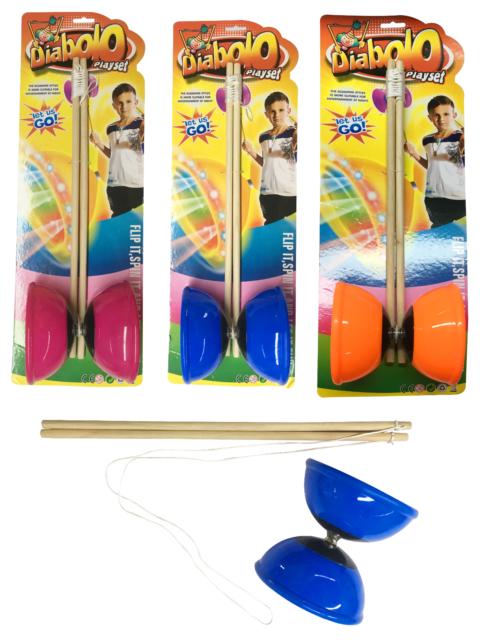 3 x Mini Diablo Juggling Set Traditional Skill Game Toy Kids Diabolo Trick Stick