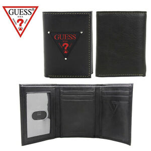 Guess-Men-039-s-Leather-Trifold-Credit-Card-Wallet-Black