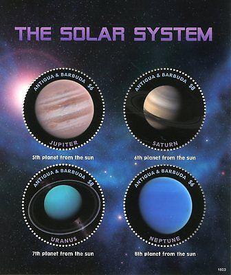 Antigua & Barbuda 2018 Mnh Solar System Jupiter Saturn 4v M/s Planets Stamps