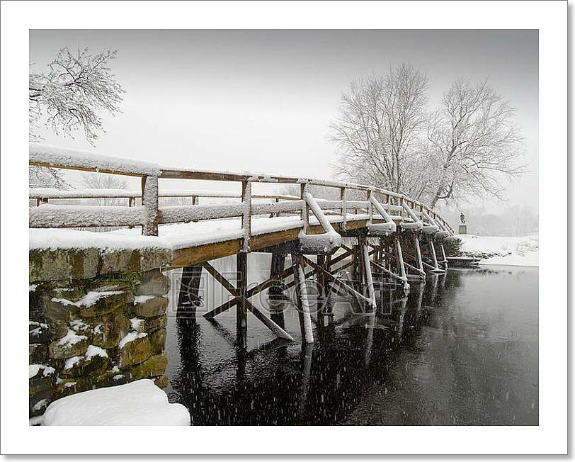 Old North Bridge In Winter Art Print Home Decor Wall Art Poster - G