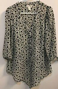 Large-blouse-LOVE-NOTES-Black-White-geometric-design-Sheer-TUNIC-Top-shirt-L-LG