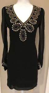 17103b9db54 Image is loading French-Connection-Black-Gold-Silk-Beaded-Sequin-Tunic-