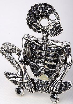 Skull Body Skeleton Bone Stretch Ring Crystal Rhinestone Jewelry Halloween RD14