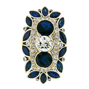 Vintage-18k-Gold-10-4ct-GIA-Diamond-Marquise-Sapphire-Large-Cocktail-Dinner-Ring