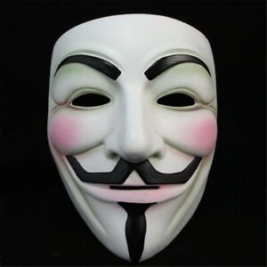 V for Vendetta Mask-Guy Fawkes Anonymous Halloween Hacker Cosplay Costume Props White