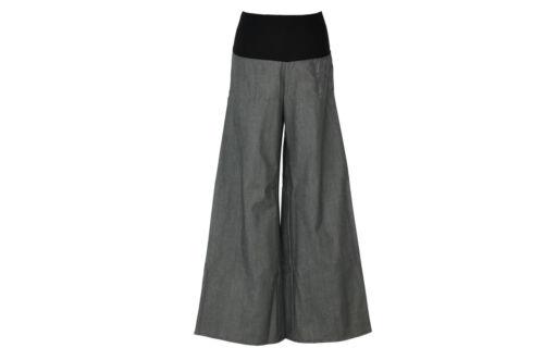 Marlenehose Jeans Grau Schwarz Jeanshose weites Bein Palazzo Damen