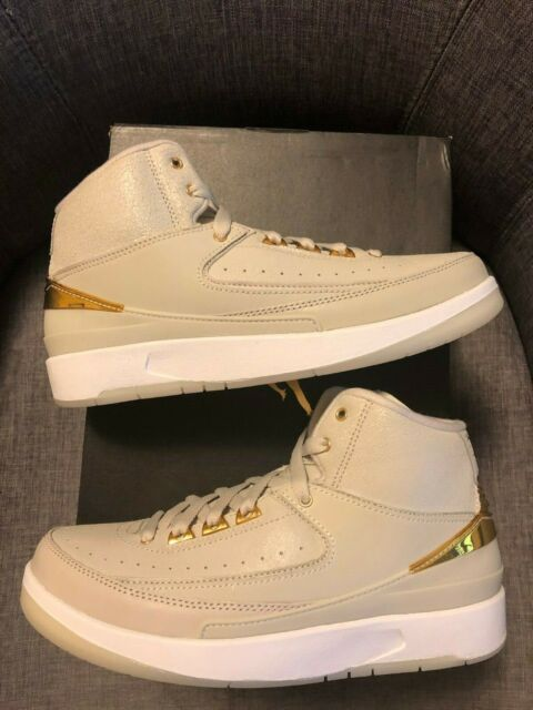df24e64613e6d8 Nike Air Jordan 2 Retro Q54 BG Light Bone Metallic Gold White Size ...