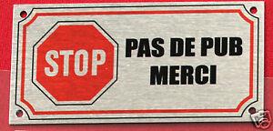Charmant Plaquette Aluminium Brossé Stop Pas De Pub Merci Métal 4x8 Cm Percée 4 Coins