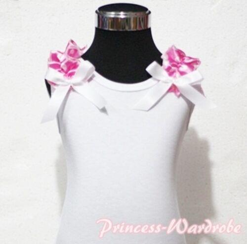 Xmas White Pettitop Top Hot Pink Dots Ruffles Various Bows For Pettiskirt NB-8Y