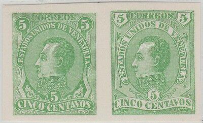 Venezuela 1880 Pair Proof Nicholas Seebeck Bolivar Possibly Unique as a Multiple