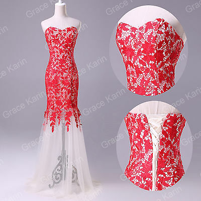 BLACK WHITE RED Lace Mermaid Long Prom Homecoming Evening Ball Gown Formal Dress