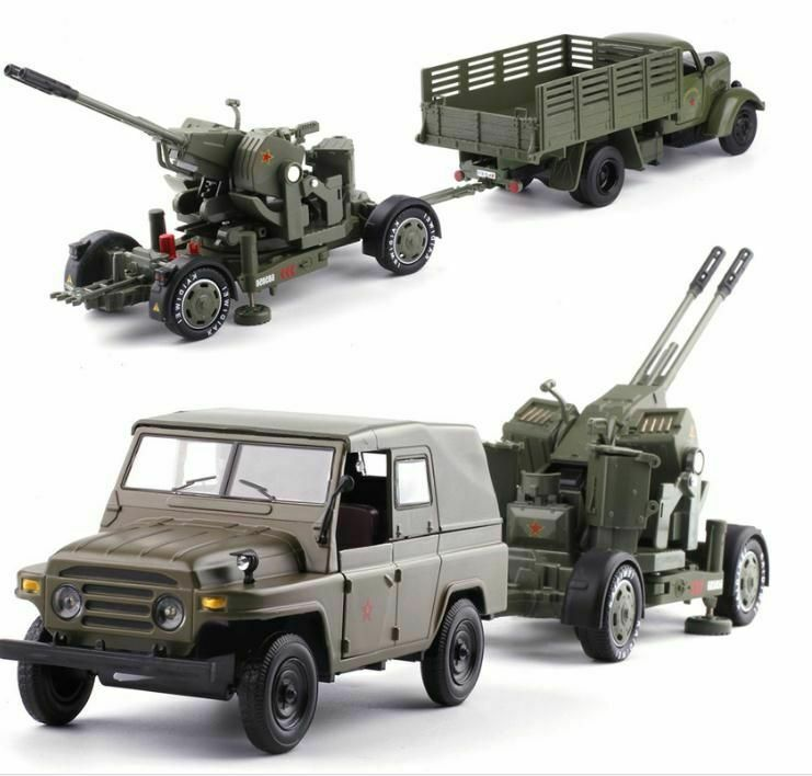 1 32 Diecast Military Truck Antiaircraft Army Truck Model Collectors Army Model