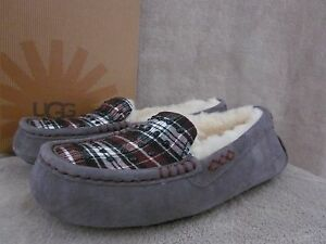 UGG-Australia-Ansley-Studded-Plaid-Suede-Moccasin-Slipper-Shoes-US-6-EUR-37-NWB