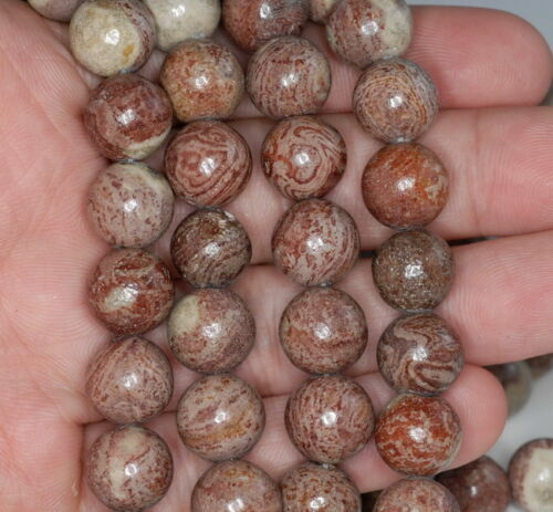 12MM BRECCIATED LACE JASPER GEMSTONE ROUND LOOSE BEADS 15/""
