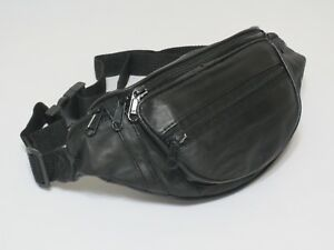 161dc820cd7 Genuine Leather Black Fanny Pack Waist Bag Hip Belt Pouch Travel ...