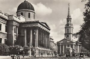 Postcard-London-National-Gallery-amp-St-Martins-In-The-Fields-Church