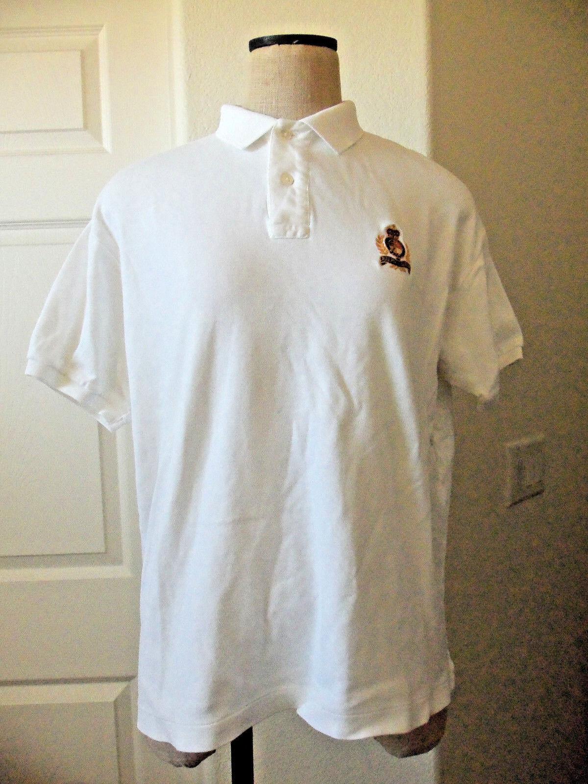 Vintage Ralph Lauren White 100% Cotton Interlock Short Sleeve Crest Polo Shirt L