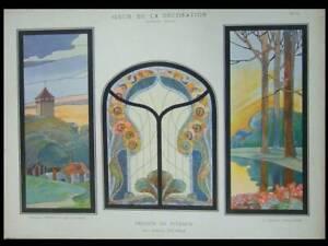 VITRAUX ART NOUVEAU, JOSEPH PILTERS - 1900 - LITHOGRAPHIE