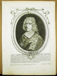 Louis-II-Cardinal-amp-Duke-Of-Vendome-D-039-Stamp-Sc-Larmessin-c1680-Engraving-Xvii